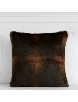 Brown Bear Faux Fur Pillow Cover by P Bteen