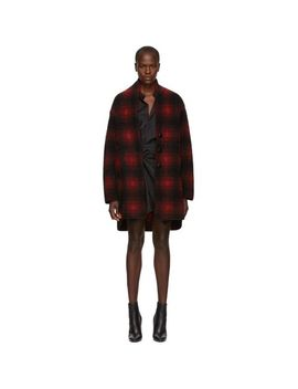 Women's Black And Red Gabrie Wool Coat by Étoile Isabel Marant