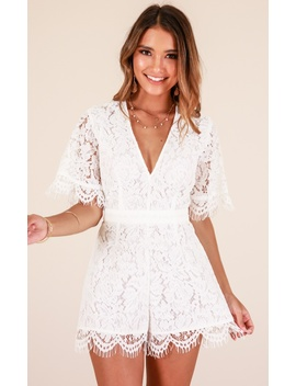 Stunner Playsuit In White Lace by Showpo Fashion