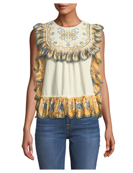 Ruffled Trimmed Embroidered Blouse by Leon Max