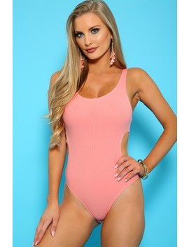 Sexy Peach Sleeveless Ribbed Cut Out Casual Bodysuit by Ami Clubwear