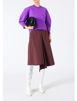 Menswear Check Drape Pencil Skirt by Tibi