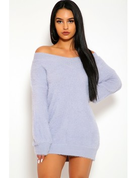 Sexy Light Grey V Cut Neckline Long Sleeve Fuzzy Sweater Dress by Ami Clubwear