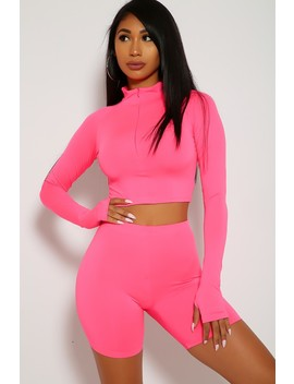 Sexy Neon Pink Two Piece Outfit Long Sleeve Crop Top High Waist Shorts Body Con by Ami Clubwear