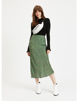 Green Leopard Satin Bias Midi Skirt by Miss Selfridge