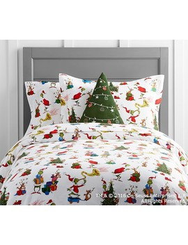 Dr. Seuss's The Grinch & Max™ Flannel Duvet Cover by Pottery Barn Kids