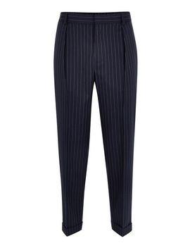 Navy Pinstripe Southdown Trousers by Topman