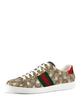 Gg Canvas Bee Sneakers by Gucci