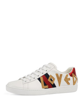 New Ace 'loved' Leather Trainer by Gucci