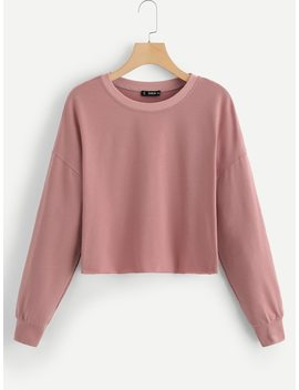Drop Shoulder Solid Crop Pullover by Shein