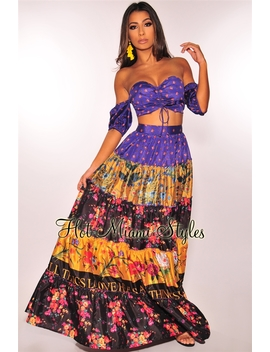 Purple Mustard Floral Off Shoulder A Line Ruffle Maxi Two Piece Set by Hot Miami Style