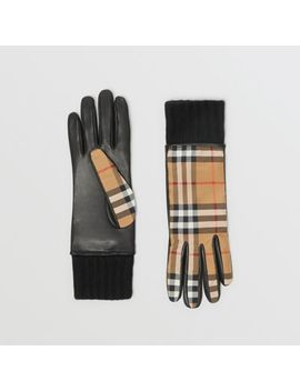 Cashmere Lined Vintage Check And Lambskin Gloves by Burberry