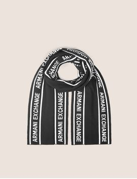 Logo Knit Rectangular Scarf by Armani Exchange