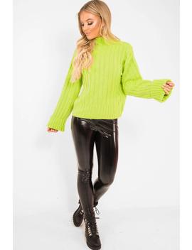 Lime Green Knit High Neck Jumper   Jaelynn by Rebellious Fashion