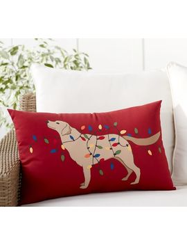 Dog With Tangled Lights Indoor/Outdoor Pillow by Pottery Barn