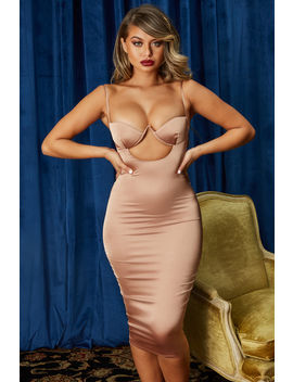 Ahead Of The Curve Satin Cut Out Midi Dress In Rose Gold by Oh Polly