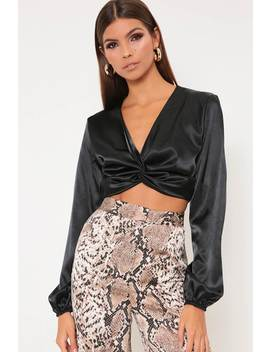 Black Satin Twist Front Cropped Blouse by I Saw It First