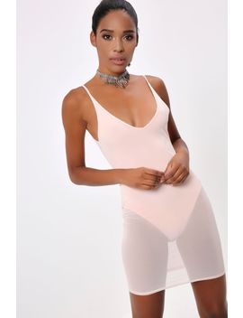 Nude Mesh Plunge Bodycon Dress by I Saw It First
