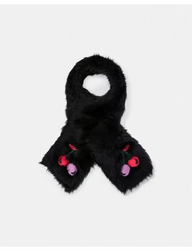 Cherry Embroidered Shearling Scarf by Coach