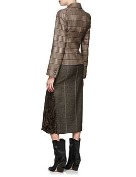 Checked Wool Blend Pencil Skirt by Fendi
