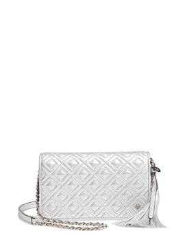 Fleming Quilted Metallic Leather Continental Wallet by Tory Burch