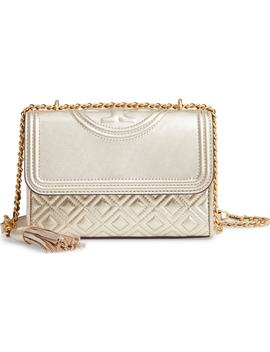 Small Fleming Metallic Lambskin Leather Convertible Shoulder Bag by Tory Burch