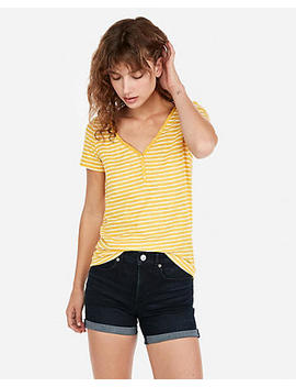 Express One Eleven Stripe Slub Slim Henley Tee by Express