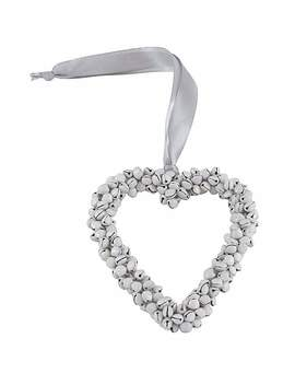 Plum Pudding Hanging Heart Decoration With Bells by Dunelm
