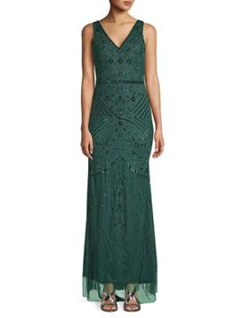 Beaded Deep V Back Gown by Adrianna Papell