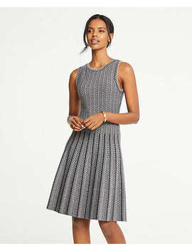 Jacquard Pleated Flare Sweater Dress by Ann Taylor