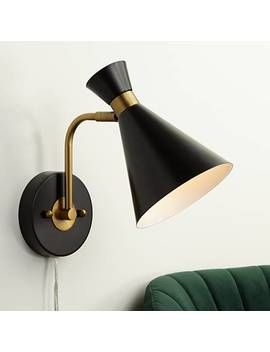 Venice Matte Black Modern Cone Wall Lamp by Lamps Plus