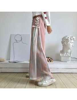 Yoshimi   Embroidered Blouse / Elastic Waist Lace Up Wide Leg Pants by Yoshimi