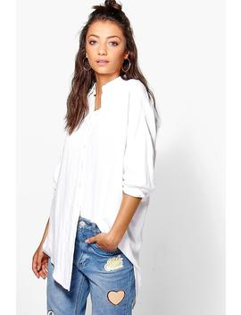 Tall Linen Look Oversized Shirt by Boohoo