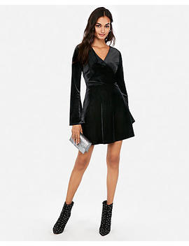Petite Velvet Surplice Fit And Flare Dress by Express