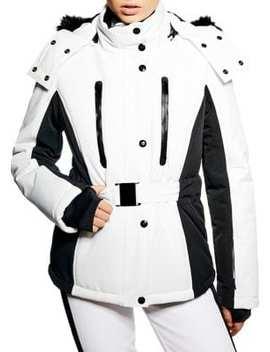 Geri Faux Fur Trim Monochrome Ski Jacket by Topshop