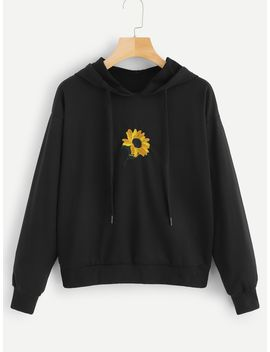 Floral Embroidery Hooded Sweatshirt by Shein