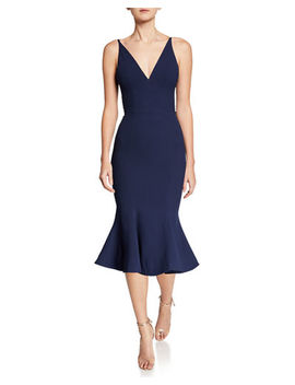 Isabelle V Neck Trumpet Cocktail Dress by Dress The Population