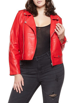 Plus Size Faux Leather Moto Jacket by Rainbow