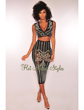 Black Iridescent Rhinestone Pearl Embellished Wrap Skirt Two Piece Set by Hot Miami Style