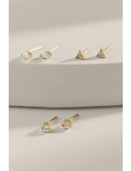 Brielle Cz Shapes Stud Earring Set by Francesca's