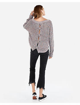 Petite Cable Knit Split Back Sweater by Express