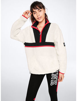 Online Exclusive! Pink Nation Nylon Pieced Sherpa Quarter Zip by Victoria's Secret