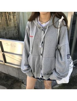 Moon City   Drawstring Hooded Buttoned Jacket by Moon City