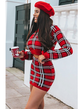 Red Check Knit Mini Skirt   Crissy by Rebellious Fashion