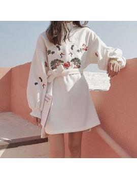 Moon City   Mock Neck Crane Embroidered Pullover Dress by Moon City