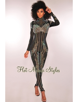Black Iridescent Studded Rhinestone Pearl Embellished Jumpsuit by Hot Miami Style