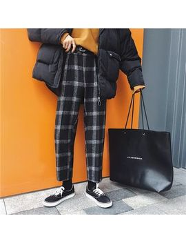 Coo Look   Cropped Straight Cut Plaid Pants by Coo Look
