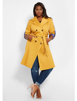Side Stripe Trench Coat by Ashley Stewart