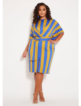 Crossover Striped Belted Dress by Ashley Stewart