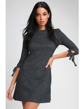 Tie A Little Love Charcoal Grey Tie Sleeve Knit Swing Dress by Lulus